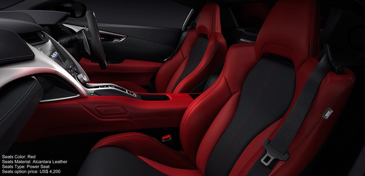 New Honda NSX Interior color: Red (Alcantara Leather) Power Seat