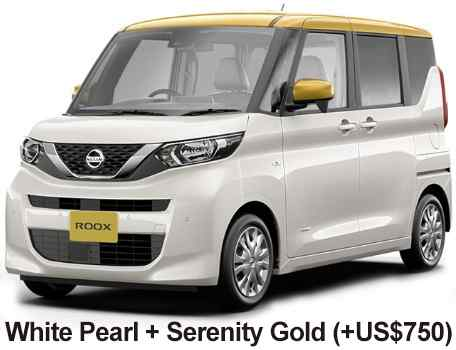 New Nissan Roox body color: 2 TONE- White Pearl + Serenity Gold (+US$750)