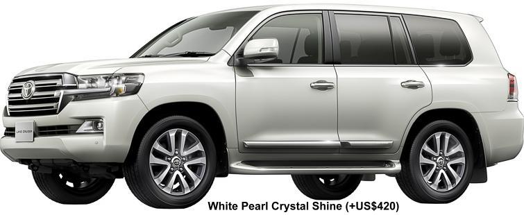 New Toyota Land Cruiser-200 Body color: White Pearl Crystal Shine (option color + US$ 420)