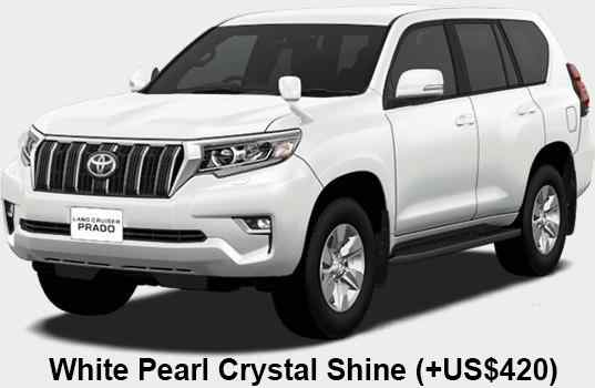 New Toyota Land Cruiser Prado body color: White Pearl Crystal Shine (option color +US$420)