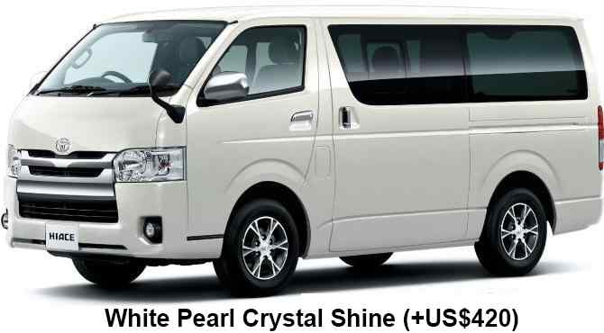 New Toyota Hiace body color: WHITE PEARL CRYSTAL SHINE (option color +US$420)