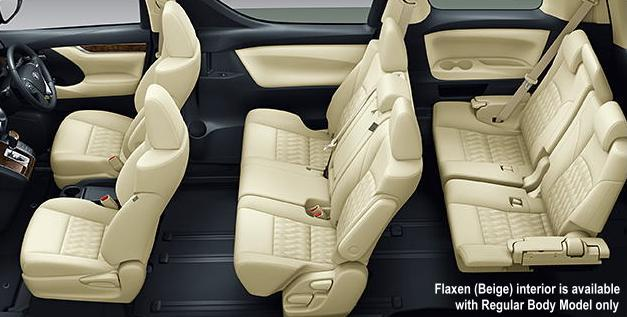 New Toyota Vellfire Interior: Beige color (for Regular Body Model only)