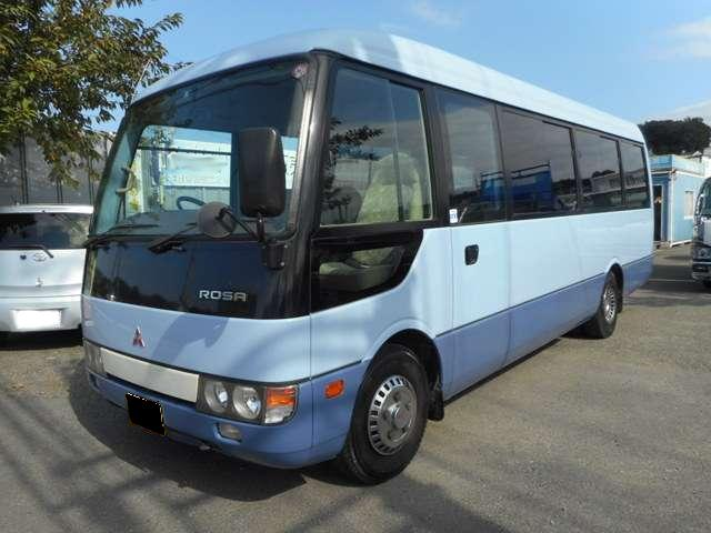 Mitsubishi Rosa used Bus pictures: 2004 model, Blue color, Front photo